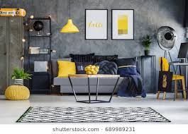 gray and yellow furniture. Optimistic Teenager\u0027s Room With Gray Wall, Furniture And Yellow Accents