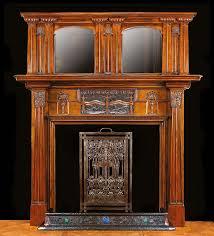 antique art nouveau cast iron wood affect fireplace mantel