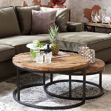 reclaimed wood round coffee table decor