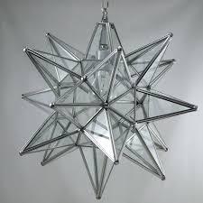 moravian star pendant light clear glass silver frame 15
