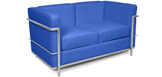 bright coloured furniture. Bright Coloured Corbusier Style 2 Seater LC2 Faux Leather Blue Furniture