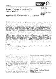 Journal Bearing Design Pdf Design Of An Active Hydromagnetic Journal Bearing