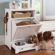 a handy feeding station is perfect for storing pet dishes food and dog toys in archaic kitchen eat