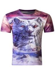 Stylish <b>3D Round</b> Neck White <b>Tiger</b> Print Short Sleeve Men's T-Shirt ...