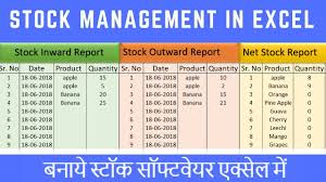 inventory software in excel stock maintain software in excel in hindi youtube