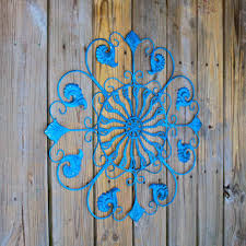 metal wall fixture bright blue distressed patio decor painted on outdoor beachy wall art with best outdoor metal wall decor products on wanelo