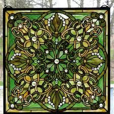 emerald kelly green lace pattern stained glass panel