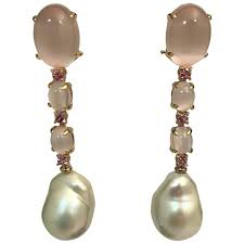 yellow gold pink quartz tourmaline and cultured pearls chandelier earrings for