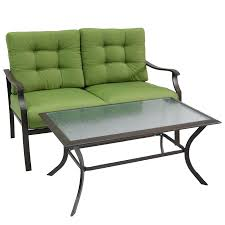 garden treasures 2 piece eastmoreland green steel patio loveseat and coffee table set