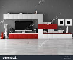 Lcd Tv Furniture For Living Room Minimalist Empty Living Room With Cabinet And Lcd Tv Stock Photo
