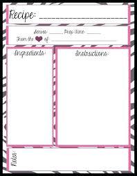 Recipe Binder Templates Recipe Template Printable Free Binder Templates Book