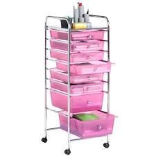 office trolley cart. Office Trolley Cart 8 Drawer Rolling Storage Utility Organizer Home Salon Pink .