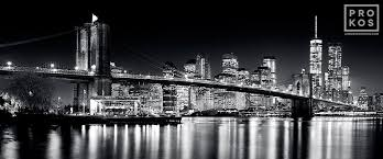 chrysler building at night black and white. panoramic skyline of brooklyn bridge and manhattan at night bu0026w a black white chrysler building