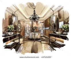 Sketch Perspective Interior Design Sketch Painting Stock