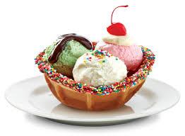 ice cream sundae waffle bowl. Dessert Waffle Bowl With Ice Cream And Sweet Hundreds Thousands Sprinkles Sundae