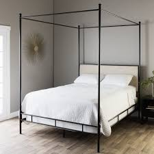 Farmhouse Canopy Bed Loft Bed Frame Wrought Iron Queen Canopy Bed ...