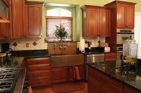 kitchen fine looking copper kitchen sink rectangular copper kitchen sink with silver appliances and black granite countertop and wooden cabinets