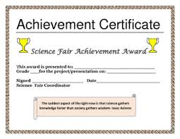 Achievement Certificate Science Fair Achievement Certificate By House Of Knowledge And Kindness