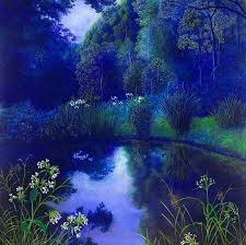 night flowers grass sky painting trees reflection field pond bushes large forest hd for android