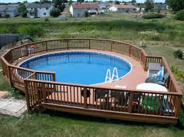 above ground pool with deck surround. Above Ground Pools With Decks Wooden Pool Deck And Railing Also Surround