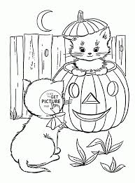 Small Picture Coloring Pages Cute Halloween Cats Coloring Pages For Kids