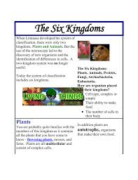 6 Kingdoms Of Life Chart The 6 Kingdoms Chart