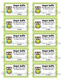 printable blue green owl diaper raffle tickets bee busy designs