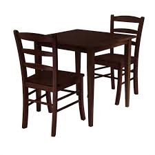3 piece square casual dining set in antique walnut