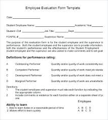 Staff Evaluation Sample Appraisal Form Employee Template