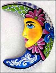 painted metal moon wall art decorative