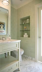 green glass subway tile bathroom contemporary with bathroom floor crown molding