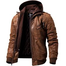 Мужская <b>кожаная куртка</b>, коричневый жакет из натуральной кожи ...