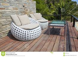 outdoor furniture white. White Outdoor Furniture On Wood Resort Terrace Stock Image - Of Interior, Pillow: 38795579 D
