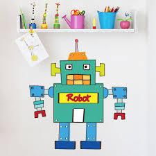 green robot wall sticker childrens wall decal art boys bedroom home decor