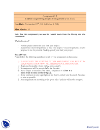 project charter engineering project management assignment docsity the document