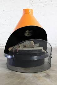 mid century electric cone shaped freestanding fireplace indian orange by sears 3