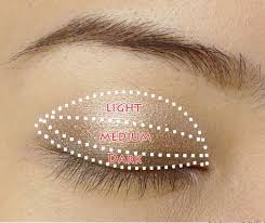 to apply the eyeshadow i used this picture as a guide to help me know where to put what color