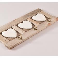 shabby chic wooden triple heart wall hooks
