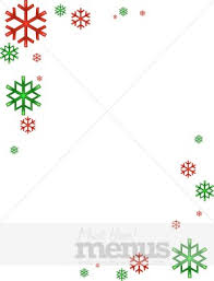 Colorful Snowflake Border Christmas Menu Images