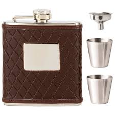 vision brown leather wrapped flask 6oz hf011