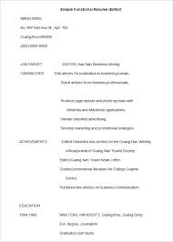 Functional Resume Template 15 Free Samples Examples Format Sample Of