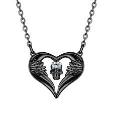 affordable women punk skull pendant necklace crystal black gold angel heart jewelry