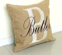 burlap pillow covers personalised embroidered cover cases decorative custom name cushion throw handmade plain