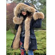 women s 100 real rac fur coat jacket hooded parka removable lining overcoat