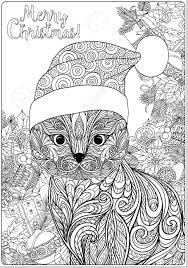 Vettoriale Decorativo Modellato Gatto Nel Cappello Di Babbo Natale