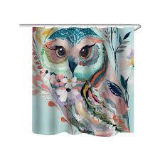 owl printed shower curtain non slip rug three set bath s bathroom decor with hooks