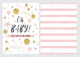 Stars Invitation Template 019 Baby Shower Invitation Template With Sparkle Gold Balls