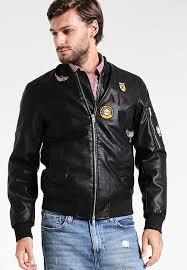 armani exchange blouson leather jackets black 3777m