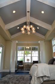 Vaulted Tray Ceiling With Greycolors And White Vaulted Tray Ceiling And  Modern Chandelier And Bedroom