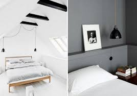 small hanging pendant lights in bedroom via design blog